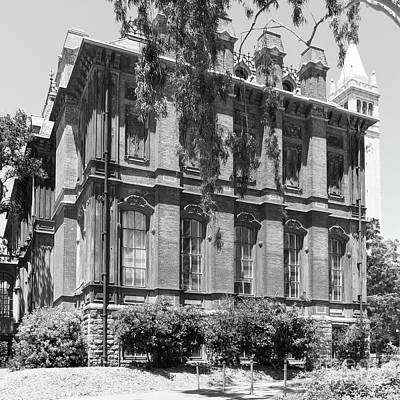 University Of California Berkeley Historic South Hall And The Campanile Dsc4058 Square Bw Poster
