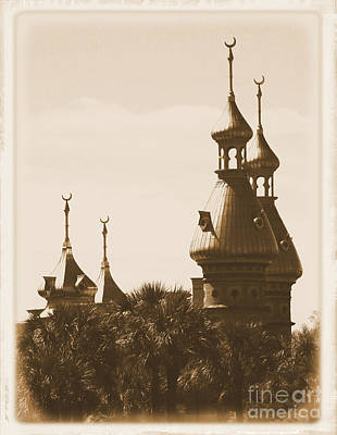 University Of Tampa Minarets With Old Postcard Framing Poster by Carol Groenen