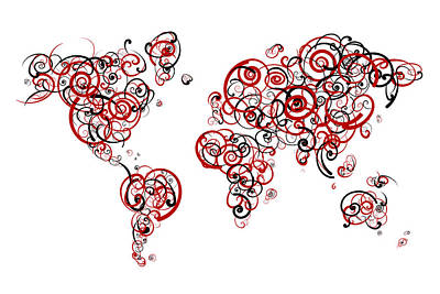 University Of Wisconsin Madison Colors Swirl Map Of The World At Poster