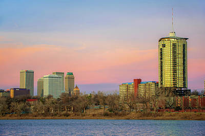 University Tower And Downtown Tulsa Skyline Poster by Gregory Ballos
