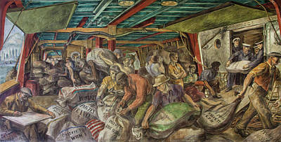Unloading The Mail Poster by Reginald Marsh