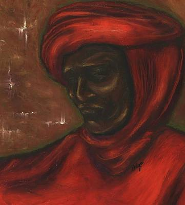 Poster featuring the pastel Untitled Man by Alga Washington