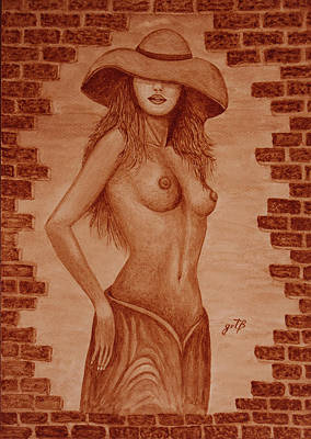 Poster featuring the painting Unveiled Topless Original Coffee Painting by Georgeta Blanaru