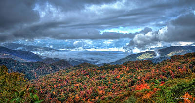 Up In The Clouds Blue Ridge Parkway Mountain Art Poster by Reid Callaway