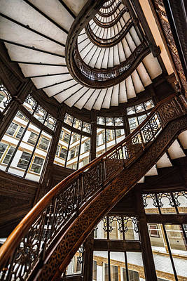 Up The Iconic Rookery Building Staircase Poster