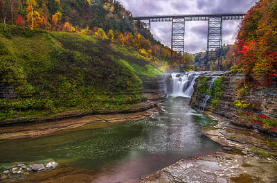 Upper Falls In Fall Poster by Mark Papke