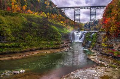 Upper Falls In Fall Poster