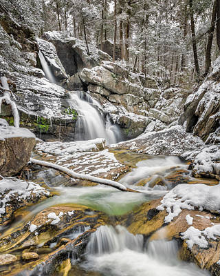 Upper Kent Falls Spring Snow 2016 Poster by Bill Wakeley