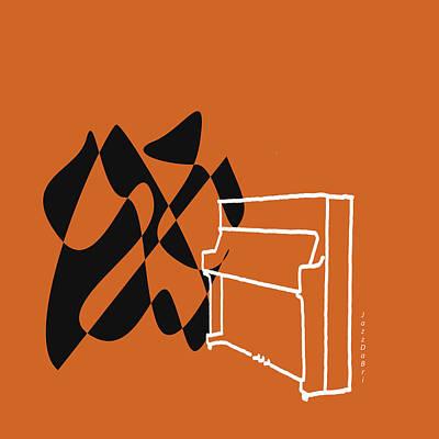 Upright Piano In Orange Poster by David Bridburg