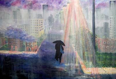 Poster featuring the painting Urban Life by Saundra Johnson