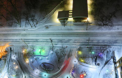 Poster featuring the photograph Urban Road And Driveway In Fresh Snow by Charline Xia