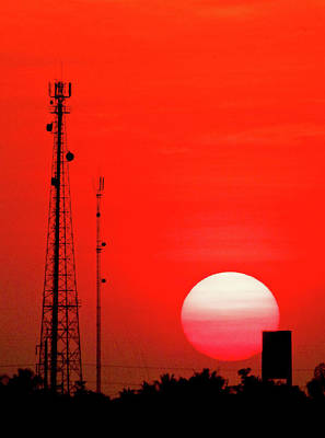 Urban Sunset And Radiostation Tower Silhouettes Poster