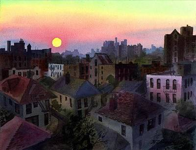 Poster featuring the painting Urban Sunset by Sergey Zhiboedov