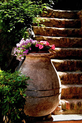 Urn And Flowers Portofino Italy Poster