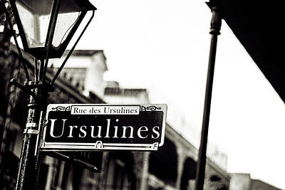 Ursulines In Monotone, New Orleans, Louisiana Poster