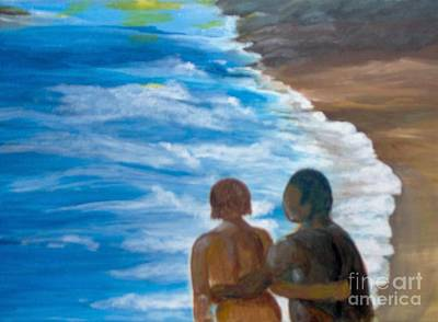 Poster featuring the painting Us Against The World by Saundra Johnson