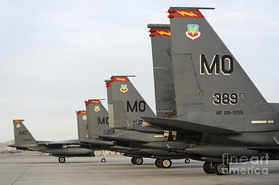 U.s. Air Force F-15e Strike Eagles Taxi Poster by Stocktrek Images