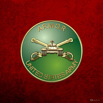 U.s. Army Armor - Branch Insignia Over Red Velvet Poster by Serge Averbukh