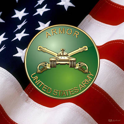 U.s. Army Armor - Branch Insignia Over U. S. Flag Poster by Serge Averbukh