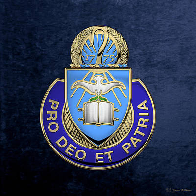 U. S. Army Chaplain Corps - Regimental Insignia Over Blue Velvet Poster by Serge Averbukh