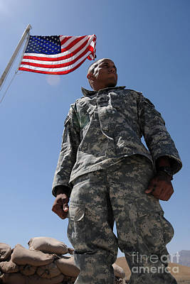 U.s. Army Soldier Taking In The Sun Poster