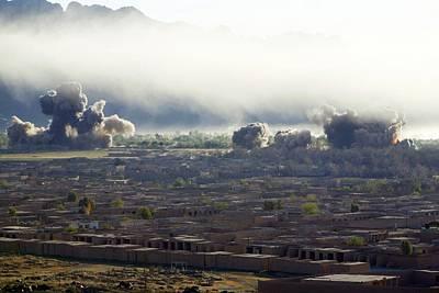 U.s. Bombs Burst During Fighting Poster
