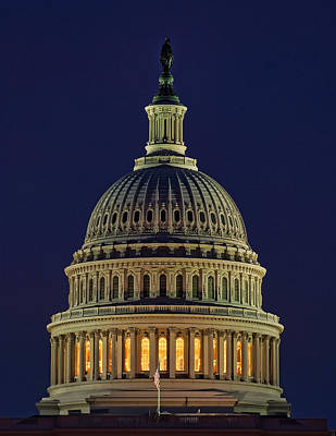 U.s. Capitol At Night Poster by Nick Zelinsky