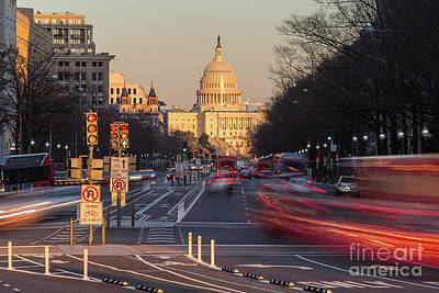 Us Capitol Building And Pennsylvania Avenue Traffic I Poster by Clarence Holmes