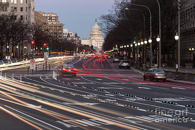 Us Capitol Building And Pennsylvania Avenue Traffic II Poster by Clarence Holmes