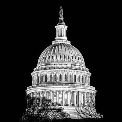 Us Capitol Dome In Black And White Poster