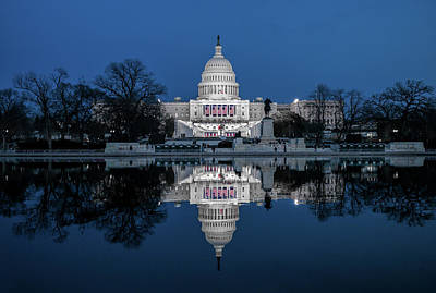 U.s. Capitol Reflection Before Inauguration Poster