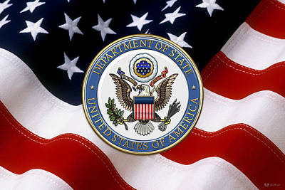 U. S. Department Of State - D O S Emblem Over American Flag Poster by Serge Averbukh