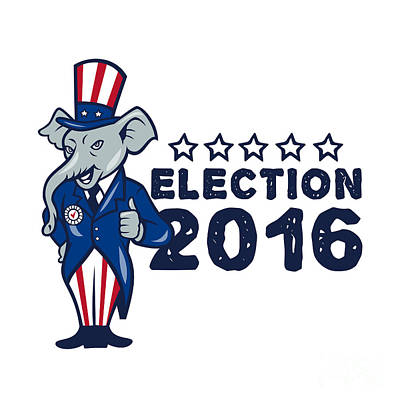 Us Election 2016 Republican Mascot Thumbs Up Cartoon Poster by Aloysius Patrimonio