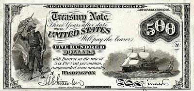 Poster featuring the digital art U.s. Five Hundred Dollar Bill - 1864 $500 Usd Treasury Note  by Serge Averbukh