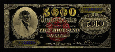 Poster featuring the digital art U.s. Five Thousand Dollar Bill - 1878 $5000 Usd Treasury Note In Gold On Black  by Serge Averbukh