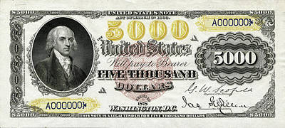 Poster featuring the digital art U.s. Five Thousand Dollar Bill - 1878 $5000 Usd Treasury Note  by Serge Averbukh