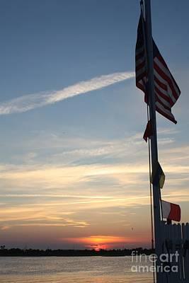 Us Flag At Sunset Poster by John Telfer