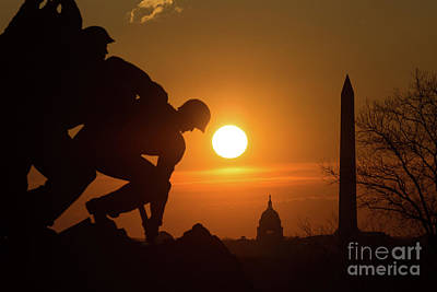 Us Marine Corps War Memorial Sunrise I Poster by Clarence Holmes