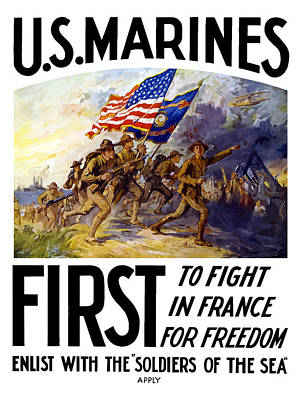 Us Marines - First To Fight In France Poster by War Is Hell Store