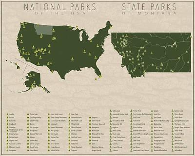 Us National Parks - Montana Poster