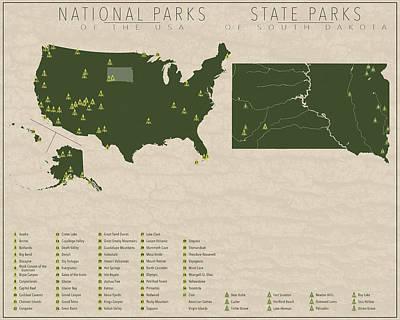Us National Parks - South Dakota Poster