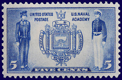 Us Naval Academy Postage Stamp Poster by James Hill