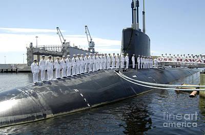 U.s. Navy Crew Members Stand On Uss Poster by Stocktrek Images