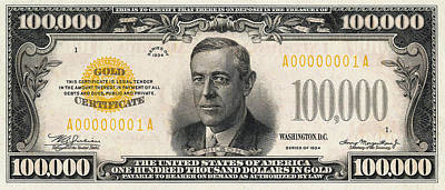 Poster featuring the digital art U.s. One Hundred Thousand Dollar Bill - 1934 $100000 Usd Treasury Note  by Serge Averbukh
