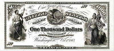 Poster featuring the digital art U.s. One Thousand Dollar Bill - 1863 $1000 Usd Treasury Note by Serge Averbukh