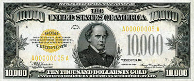 Poster featuring the digital art U.s. Ten Thousand Dollar Bill - 1934 $10000 Usd Treasury Note by Serge Averbukh