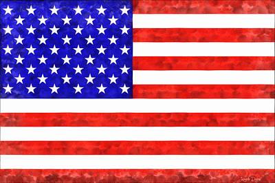 Usa Flag  - Acrylic Style -  - Da Poster by Leonardo Digenio