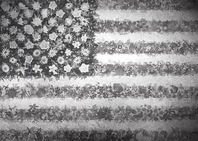 Usa Flag Floral 2 Poster by Bekim Art