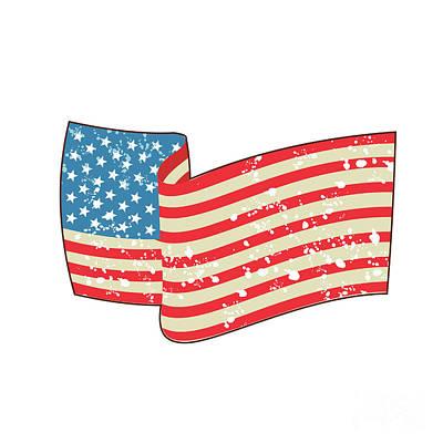 Usa Flag Stars And Stripes Grunge Wavy Retro Poster by Aloysius Patrimonio