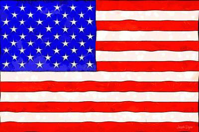 Usa Flag  - Van Gogh Style -  - Da Poster by Leonardo Digenio